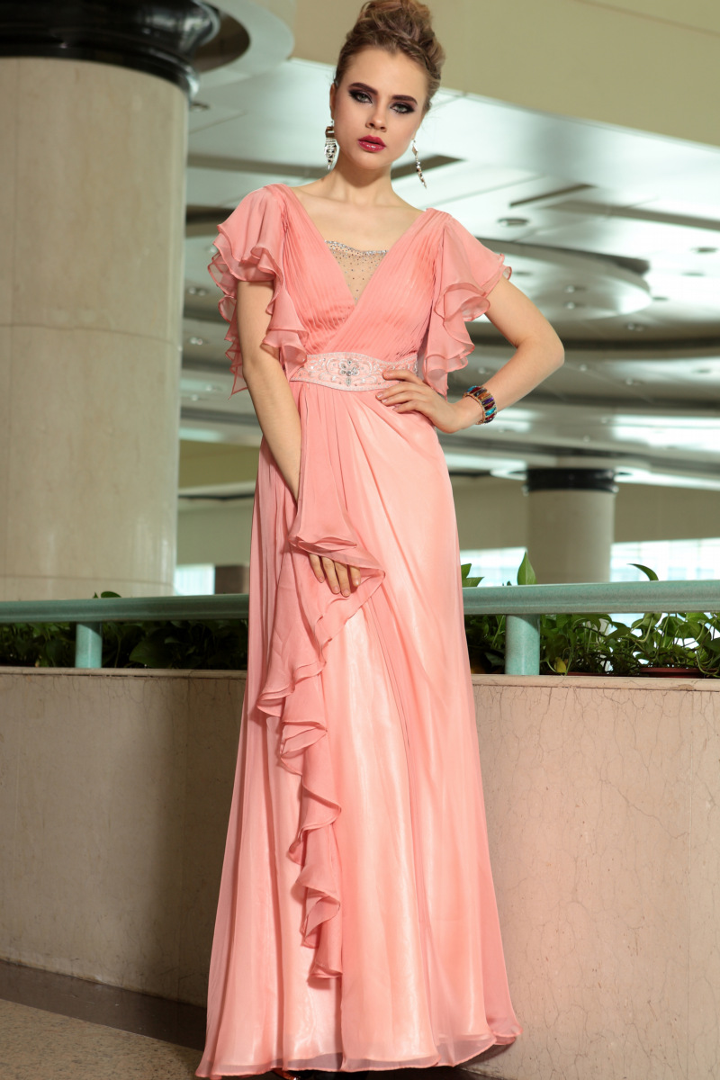 Full Length Beaded Coral Prom Gown Evening Dresses - TheCelebrityDresses