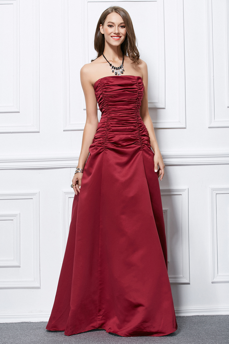 Full Length Burgundy Strapless Lace Up Formal Dress Prom Gown ...