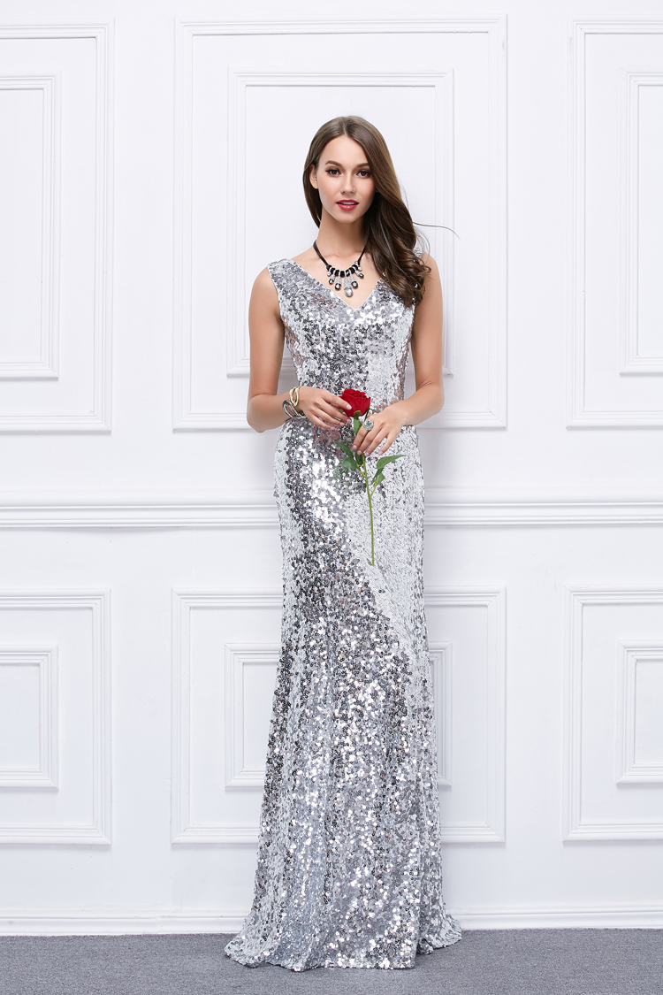 Full Length Silver Sequins V-Neck Evening Gown Prom Dress ...