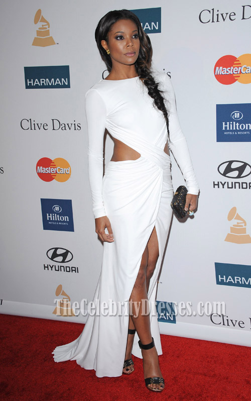 Gabrielle Union White Cut Out Prom Dress 54th Clive Davis Pre Grammy Party Thecelebritydresses