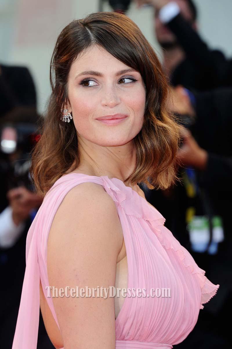 Gemma Arterton Pink One Shoulder Chiffon Evening Prom Gown ...