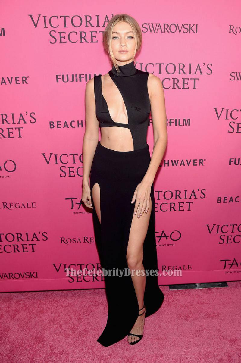 Black dress victoria secret - Gigi Hadid Sexy Black Sleeveless Evening Dress 2015 Victoria S Secret Fashion After Party Thecelebritydresses