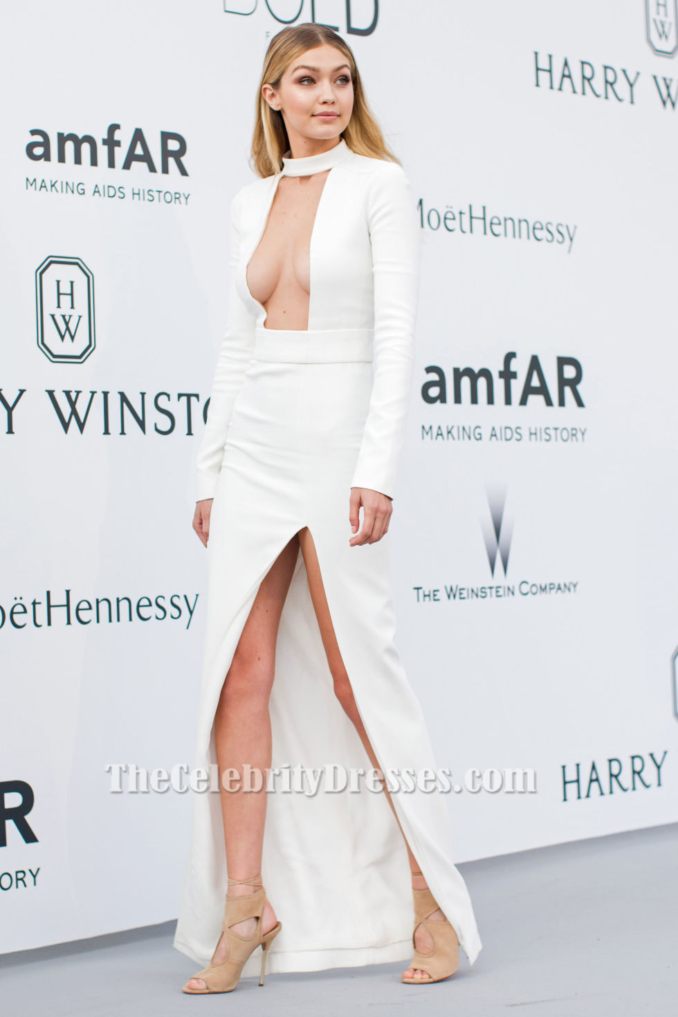 Gigi Hadid Sexy Ivory Long Sleeve Evening Dress 2015 AmfAR ...