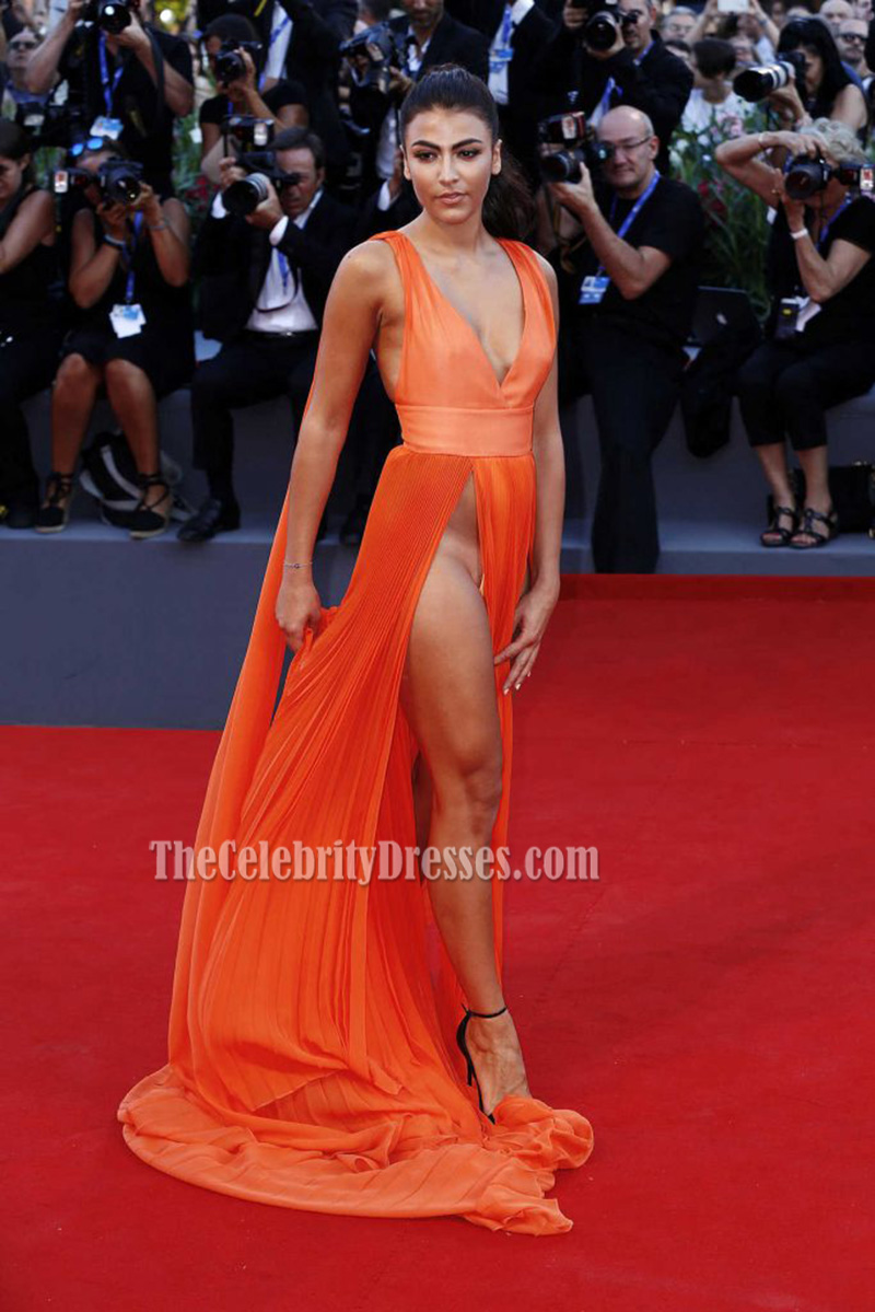 Giulia Salemi Orange Sexy Evening Prom Dress 'Brimstone ...