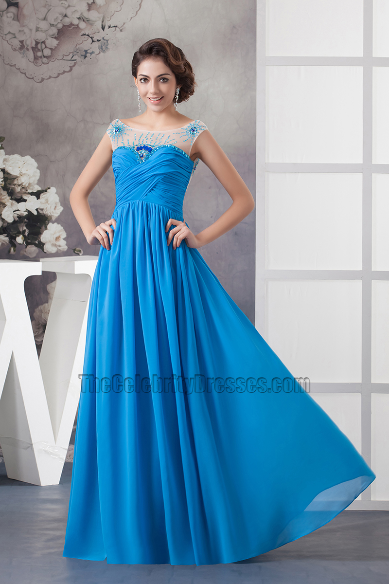 Glamorous Blue Chiffon Backless Prom Dress Evening Gown ...