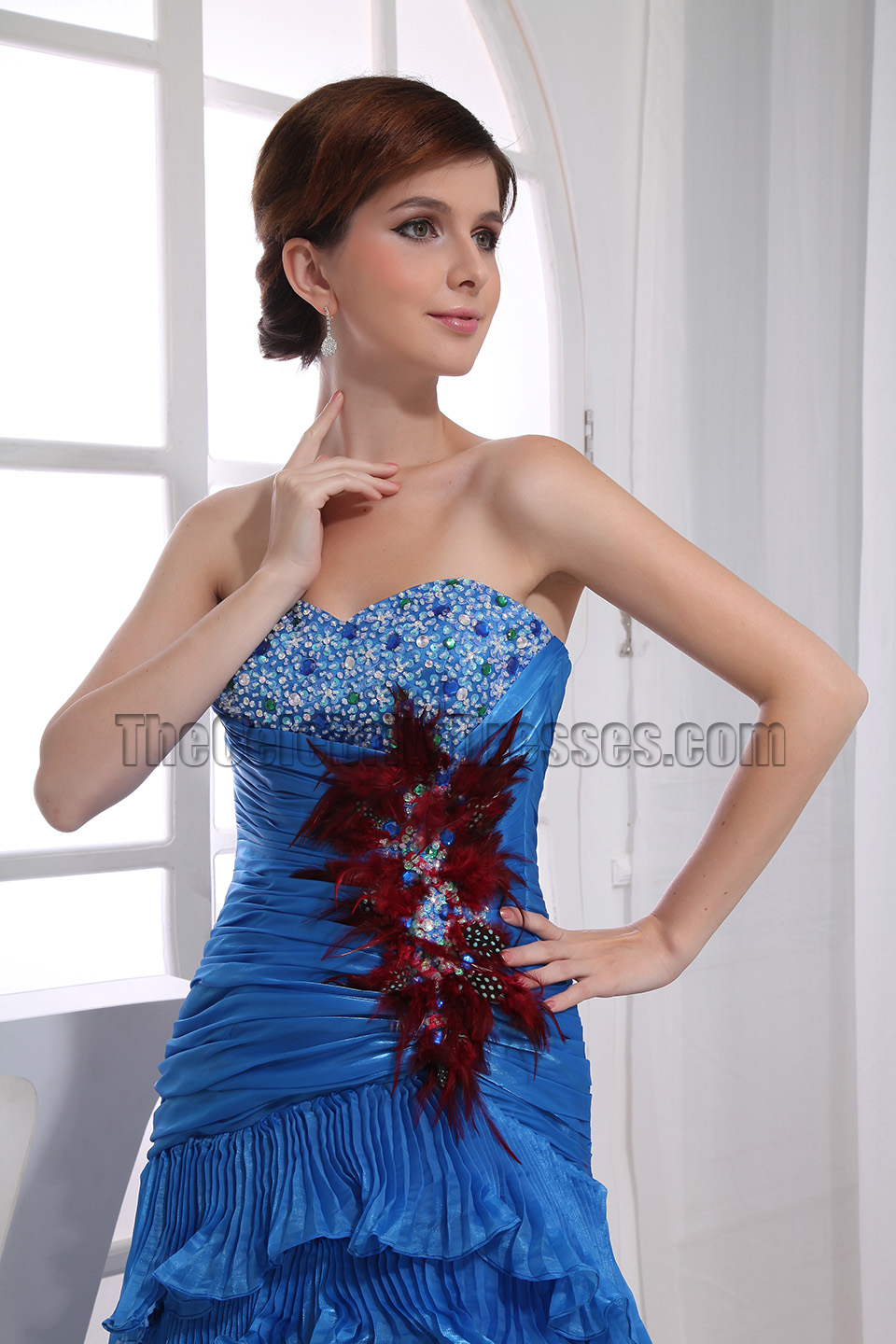 Glamorous Blue Strapless High Low Prom Dress Formal Dresses - TheCelebrityDresses