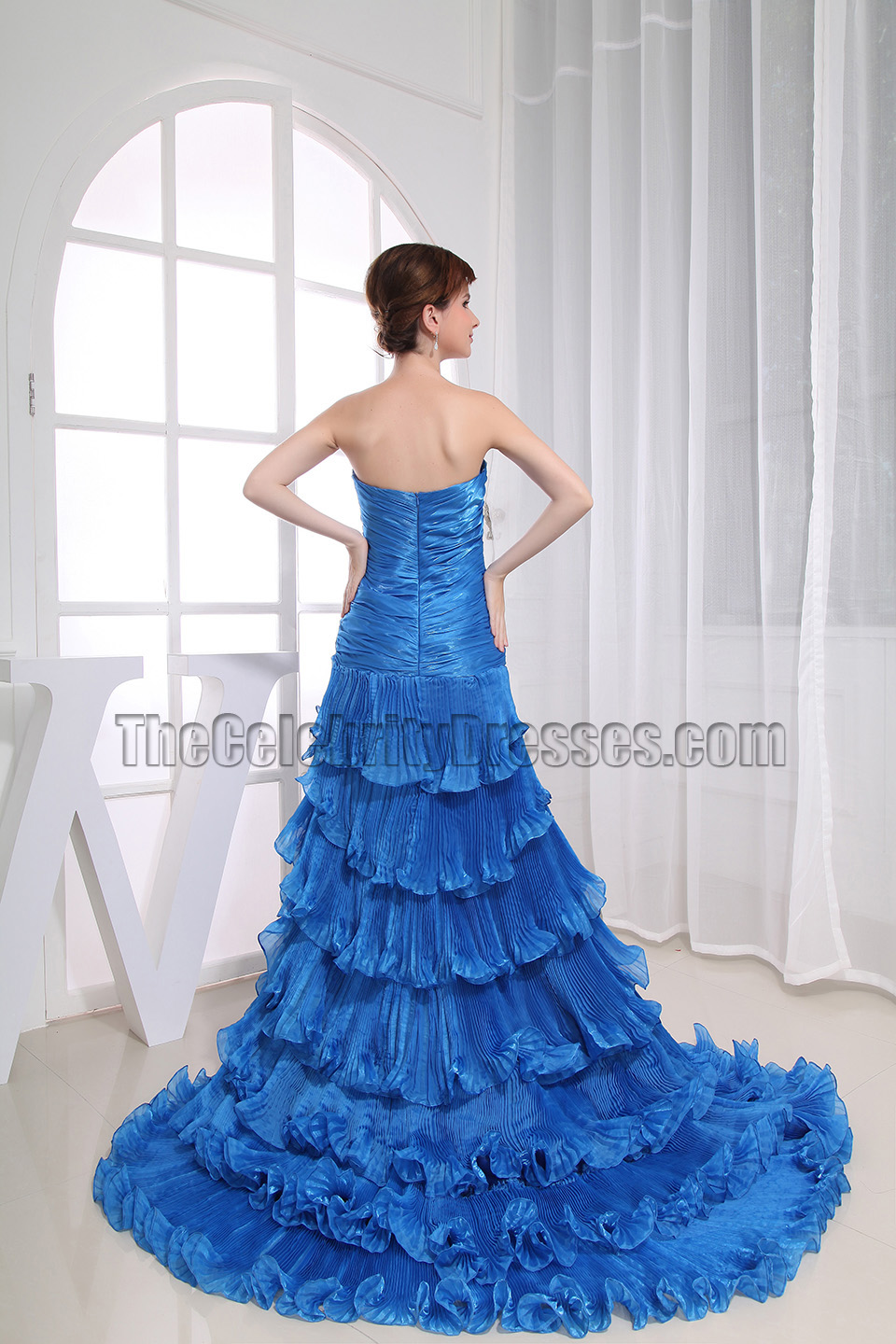 Glamorous Blue Strapless High Low Prom Dress Formal ... - photo#12