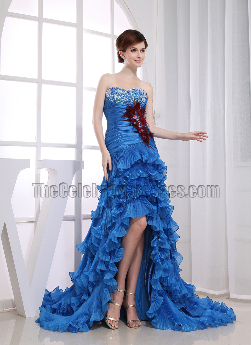 Glamorous Blue Strapless High Low Prom Dress Formal ... - photo#8