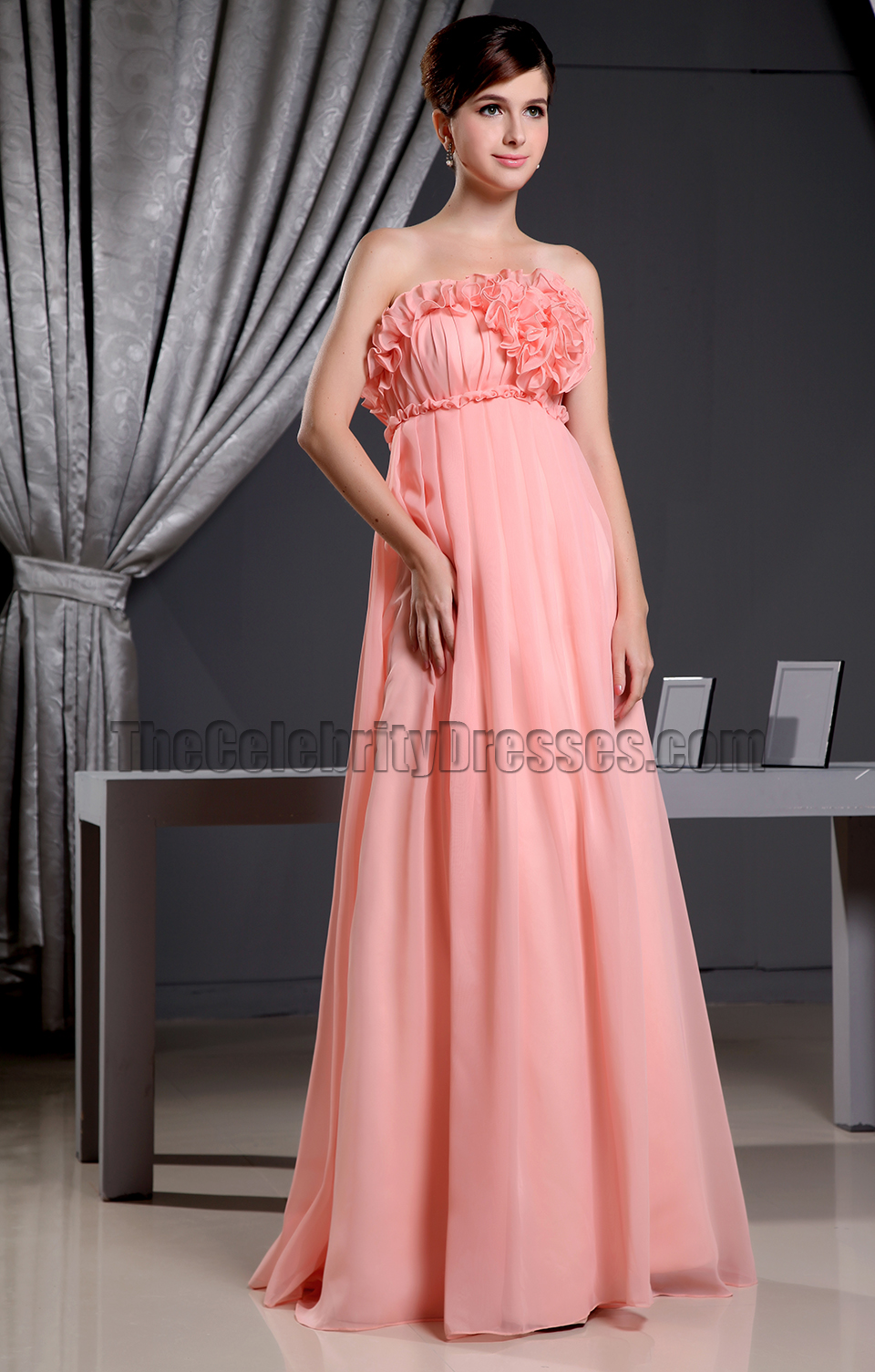 Coral Strapless A-Line Prom Dress Formal Bridesmaid Dresses ...