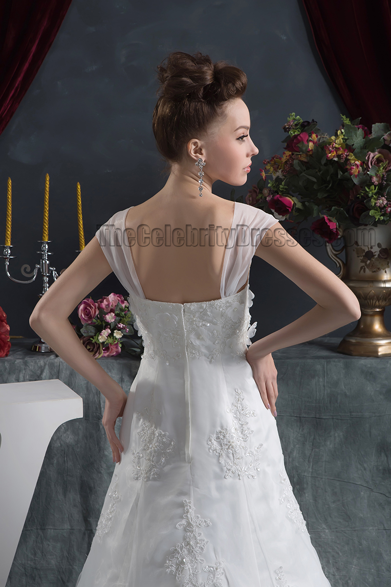 Gorgeous A Line Cap Sleeves Lace Bridal Gown Wedding Dress