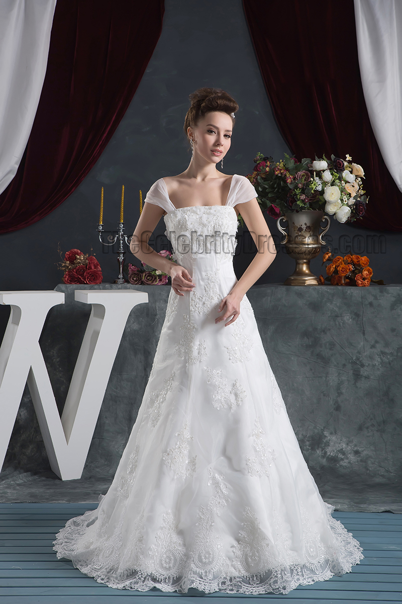 Gorgeous A-Line Cap Sleeves Lace Bridal Gown Wedding Dress ...