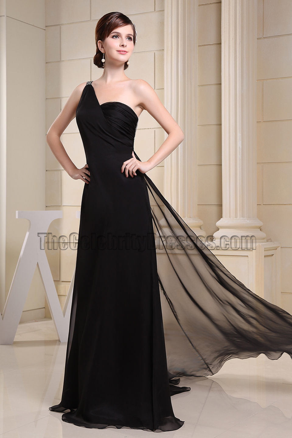 Backless Black One Shoulder Prom Dress Evening Formal Dresses ...