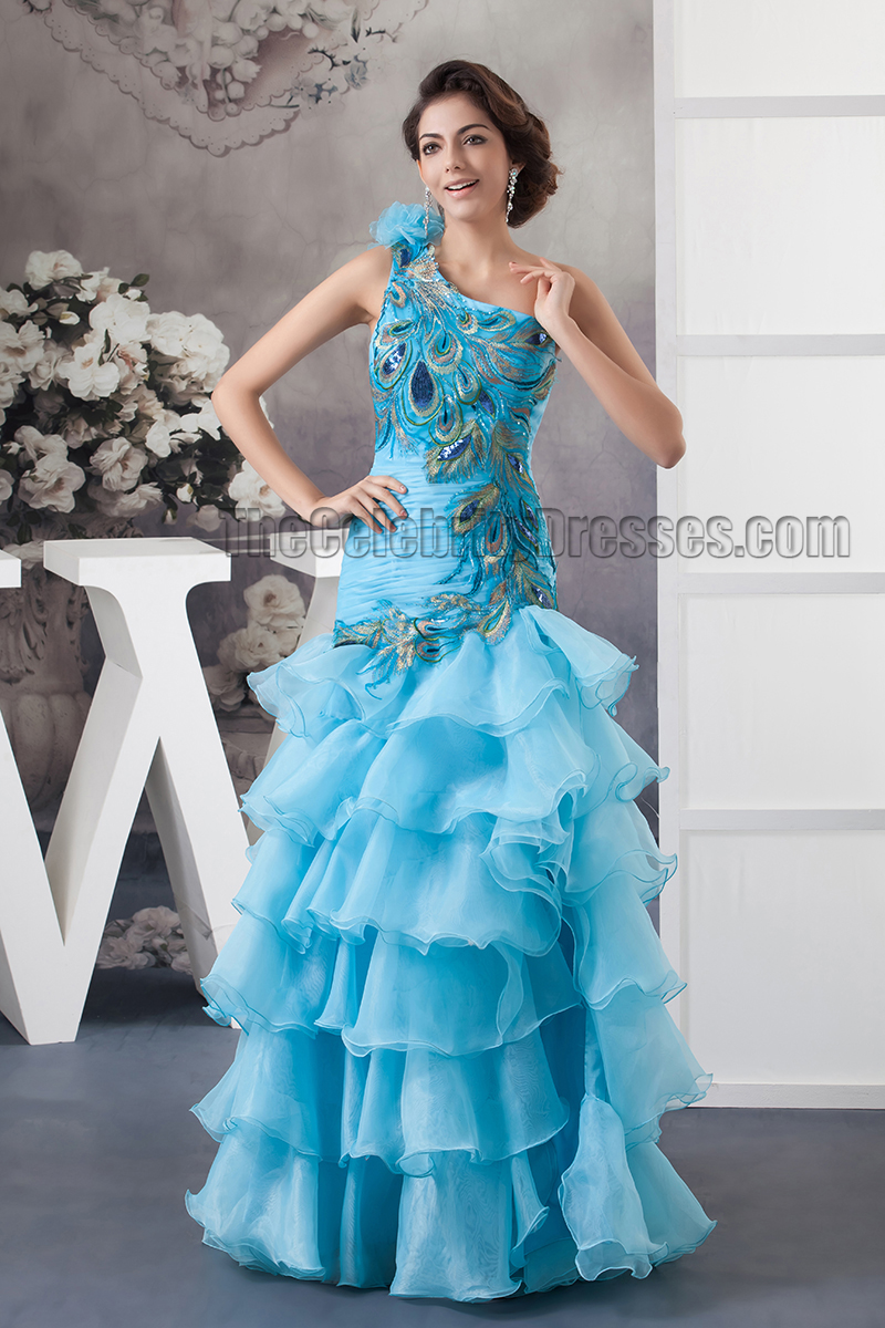 Gorgeous Blue One Shoulder Floor Length Evening Dress Prom Gown ...