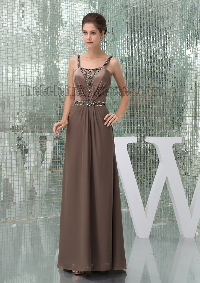 Gorgeous Brown Beaded Prom Gown Bridesmaid Evening Dresses ...