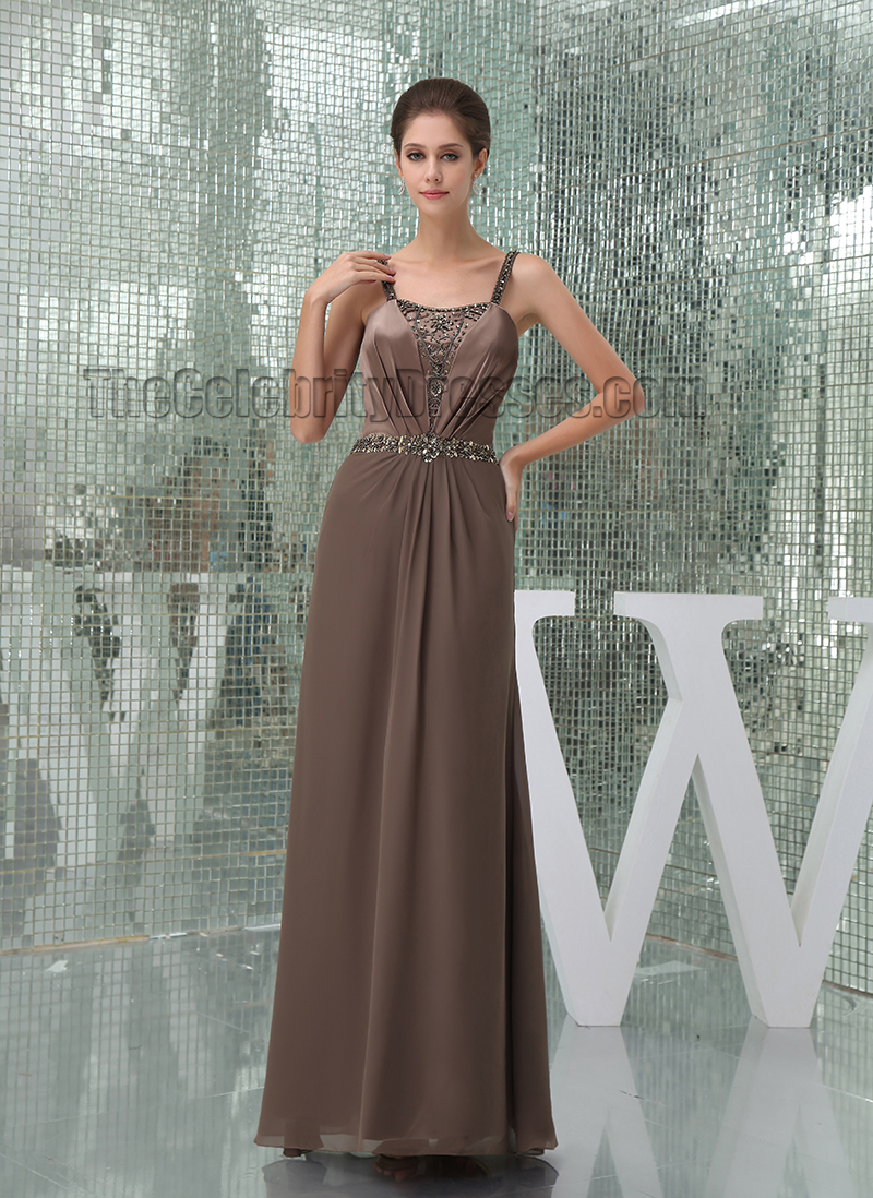 Gorgeous Brown Beaded Prom Gown Bridesmaid Evening Dresses - TheCelebrityDresses