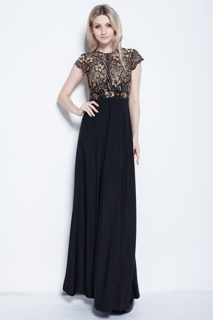 Gorgeous Floor Length Black Prom Gown Evening Dresses   TheCelebrityDresses
