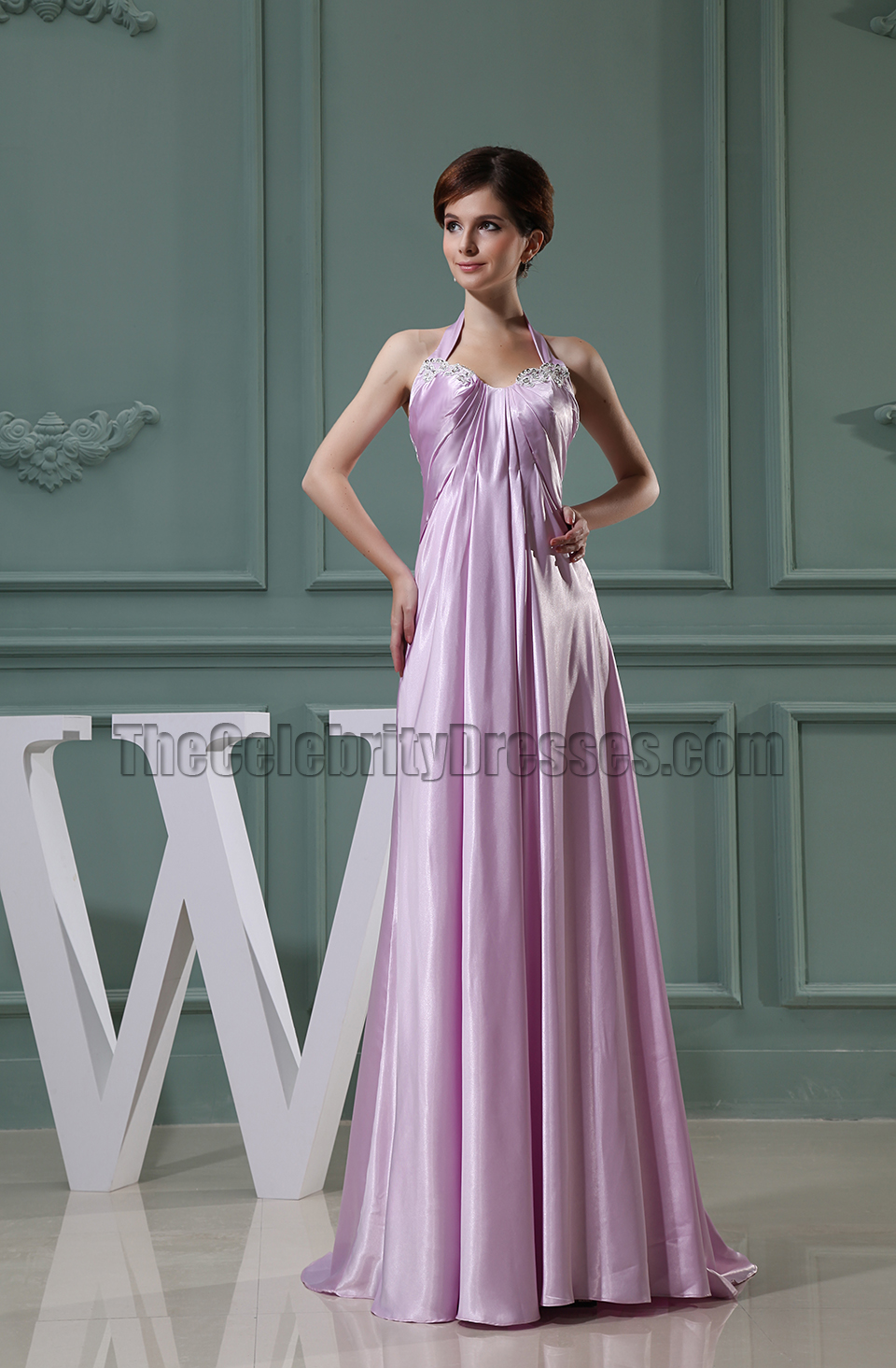 Lilac Halter Long Prom Dress Evening Formal Dresses - TheCelebrityDresses
