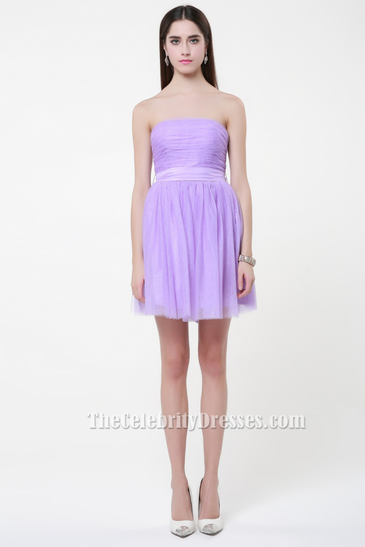 Gorgeous Lilac Strapless Tulle Party Short Bridesmaid Dresses ...