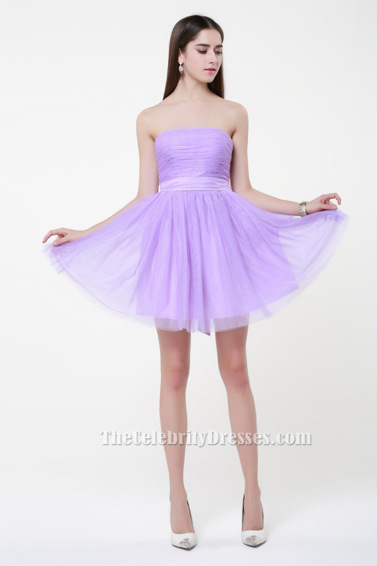 Gorgeous lilac strapless tulle party short bridesmaid dresses gorgeous lilac strapless tulle party short bridesmaid dresses thecelebritydresses ombrellifo Images