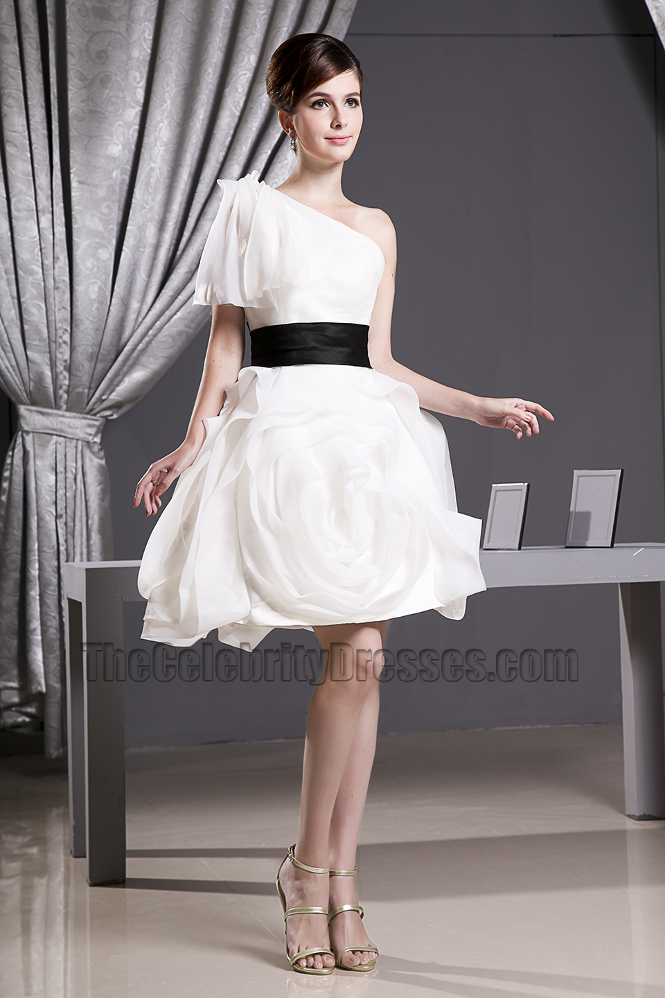 Celebrity Inspired White Short One Shoulder Party ...