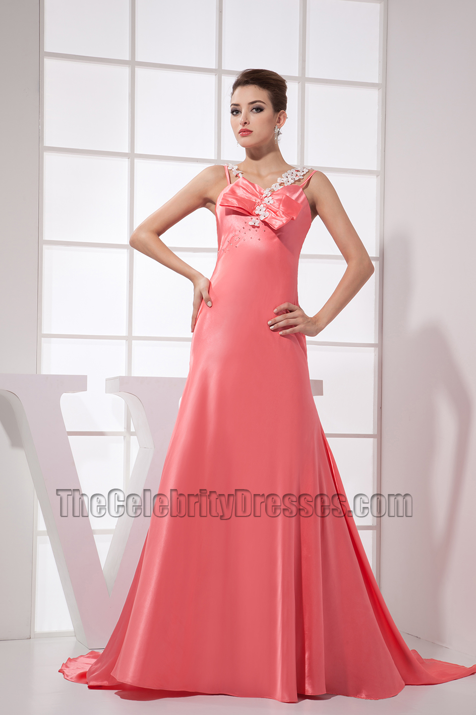 Pink Long Prom Dress Evening Formal Gowns With Beading ...