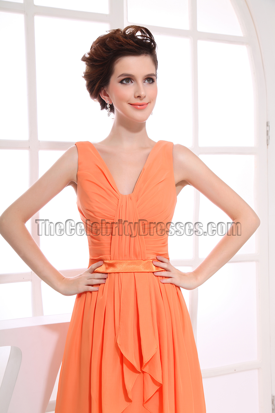 Gorgeous Orange Chiffon Knee Length Cocktail Dress Party ...
