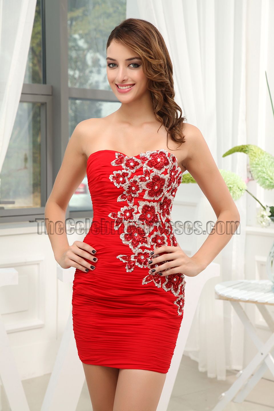 Gorgeous Red Mini Embroidery Party Graduation Cocktail Dresses Thecelebritydresses