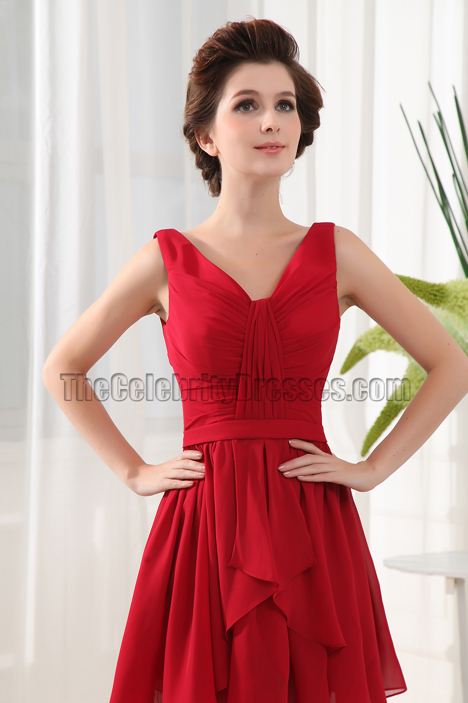 New Style Red V-neck Party Cocktail Homecoming Dresses ...