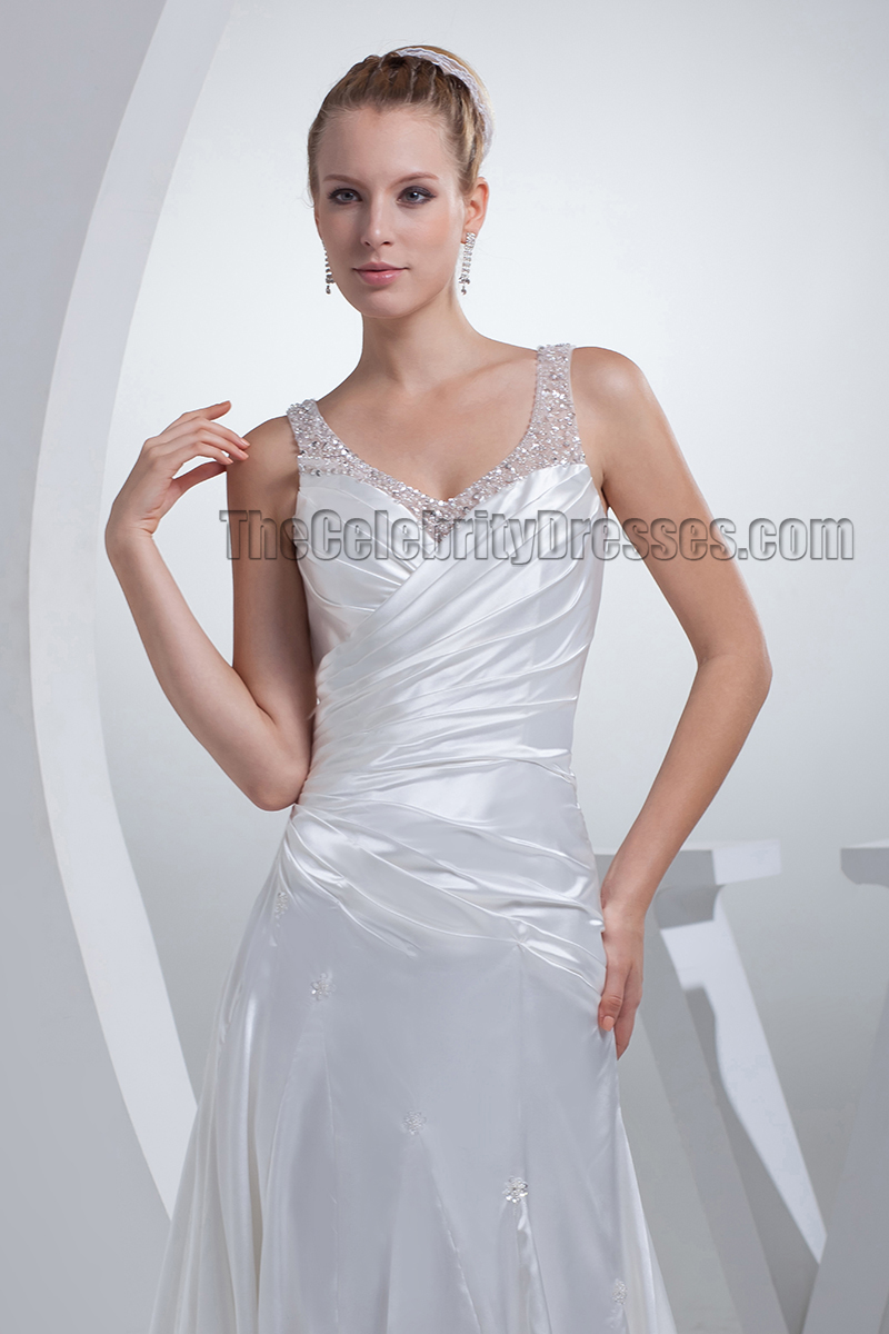 Gorgeous sheath column silk like satin wedding dress for Satin silk wedding dresses