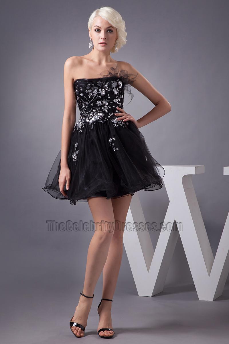 Gorgeous Short Strapless A Line Party Little Black Dresses