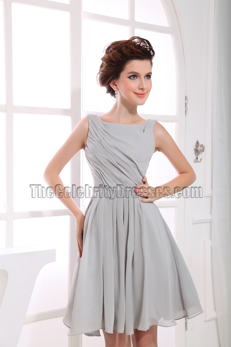 Gorgeous Silver Chiffon A-Line Cocktail Dress Party ...