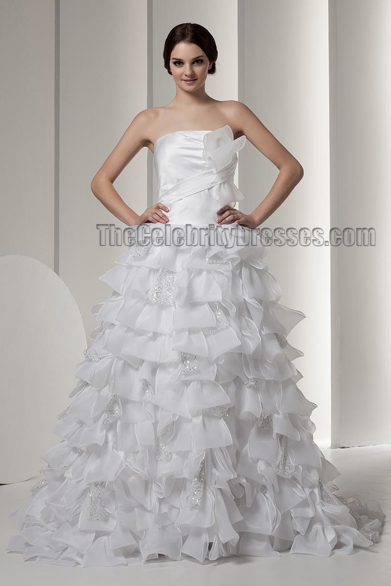 Gorgeous strapless a line ruffles wedding dresses for Strapless wedding dress with ruffles