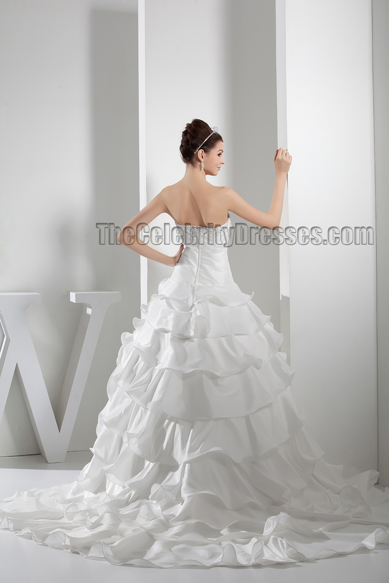 Gorgeous strapless embroidered ruffles chapel train for Chapel train wedding dress