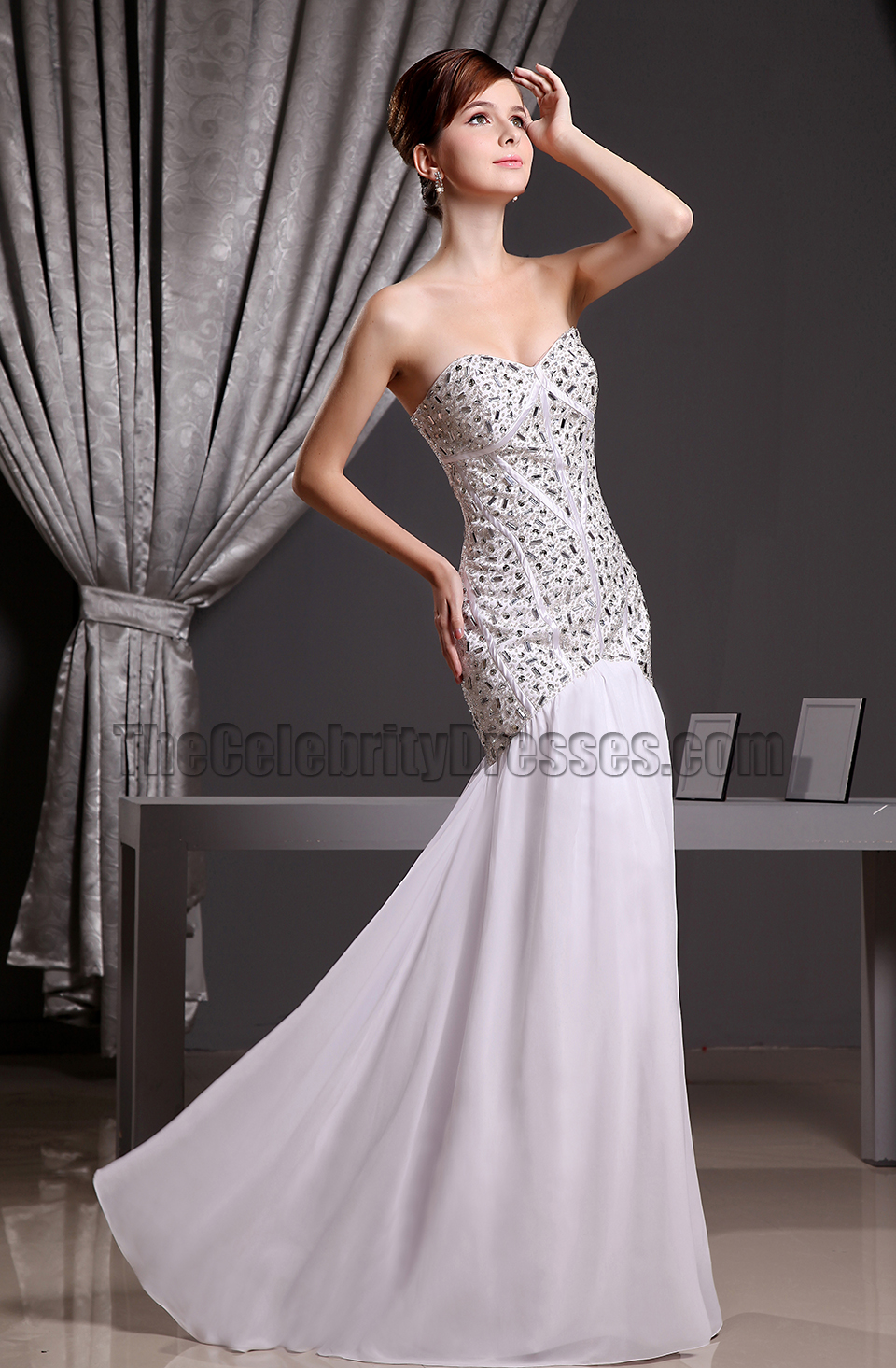 White Beaded Strapless Sweetheart Mermaid Formal Dress Prom Gown Thecelebritydresses
