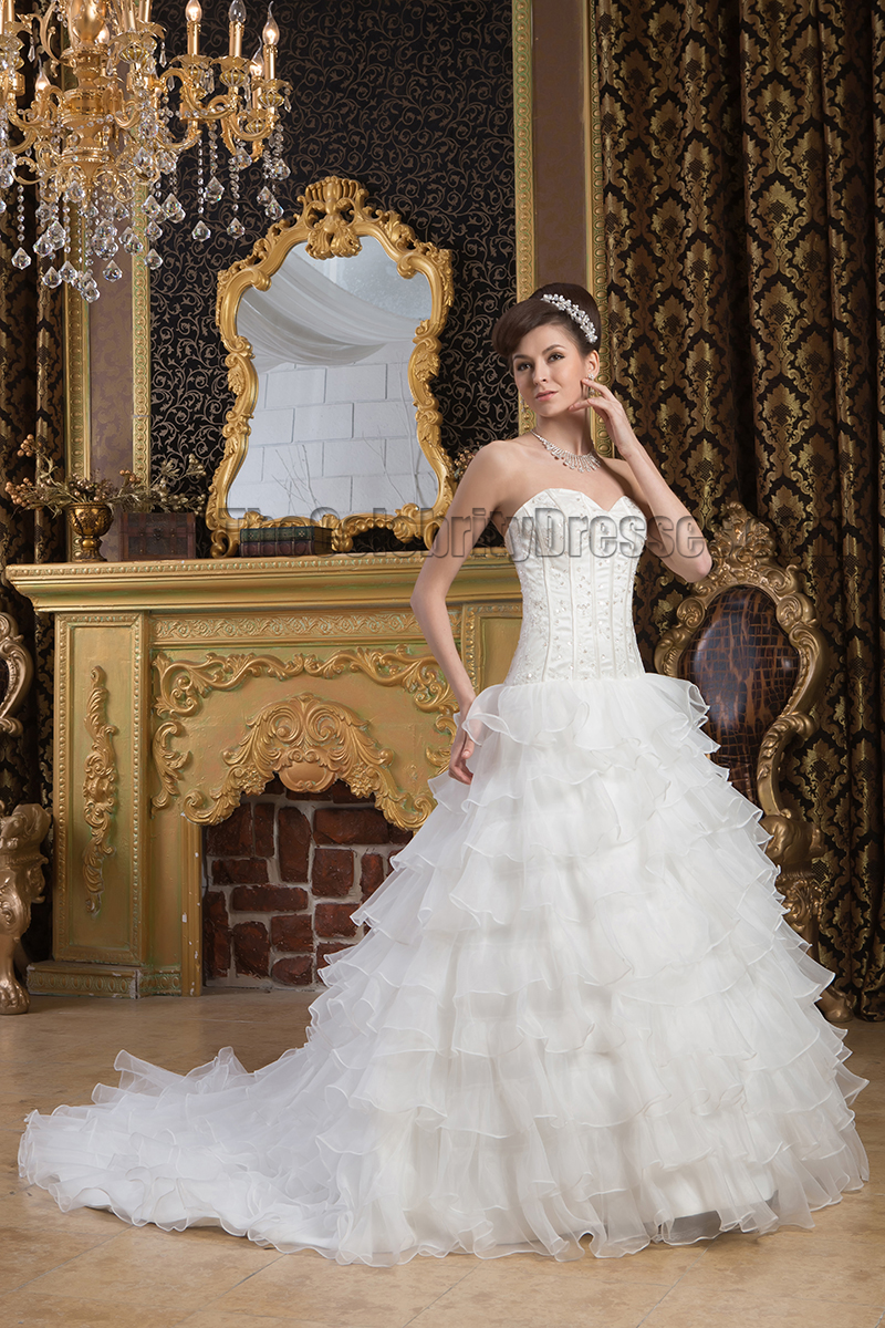 Gorgeous Sweetheart Strapless A Line Beaded Lace Up Wedding Dresses