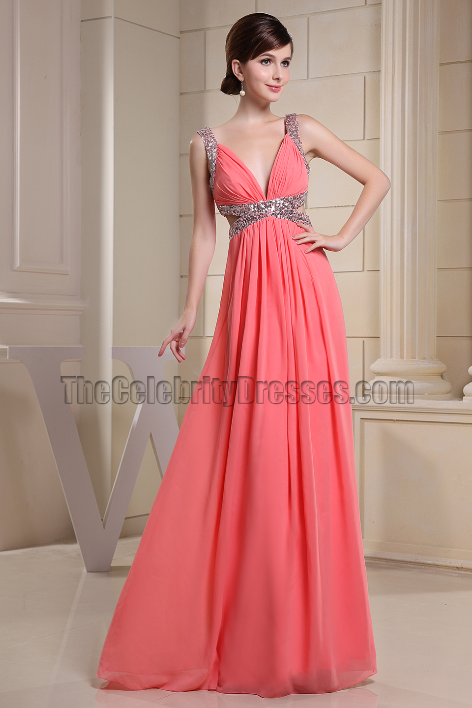Watermelon Cut Out Silver Sequined Prom Dress Evening Gown ...