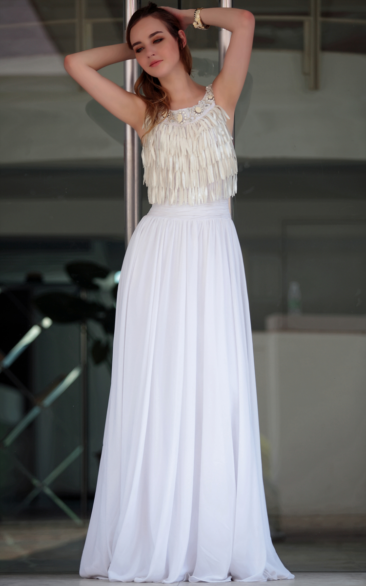 Gorgeous White Floor Length Tel Prom Gown Evening Dresses Thecelebritydresses