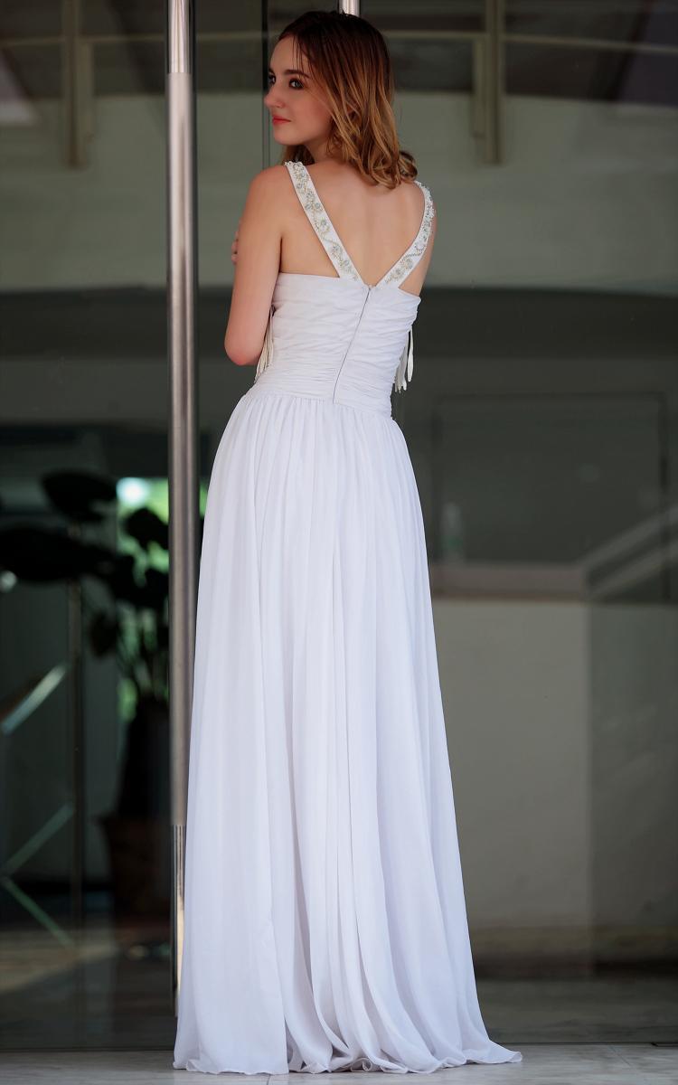 Gorgeous White Floor Length Tassel Prom Gown Evening