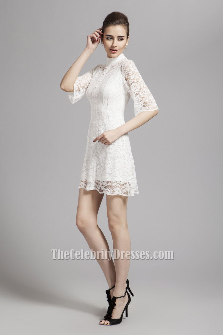 Gorgeous White Lace Short Mini Party Homecoming Dresses - TheCelebrityDresses