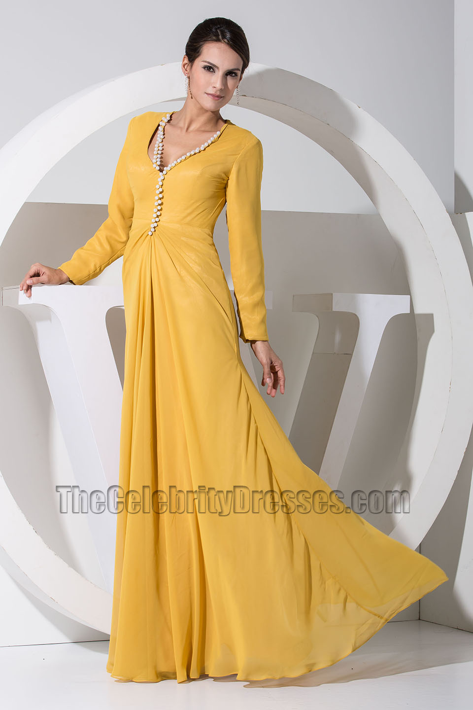 Gorgeous Yellow Long Sleeve Prom Dress Formal Evening Dresses ...