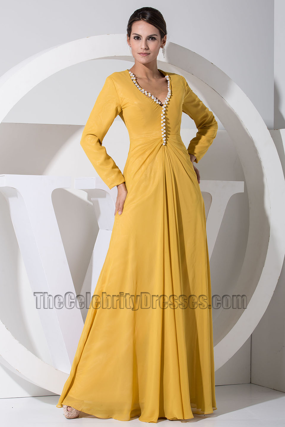 3b10563d7ab3 Gorgeous Yellow Long Sleeve Prom Dress Formal Evening Dresses ...