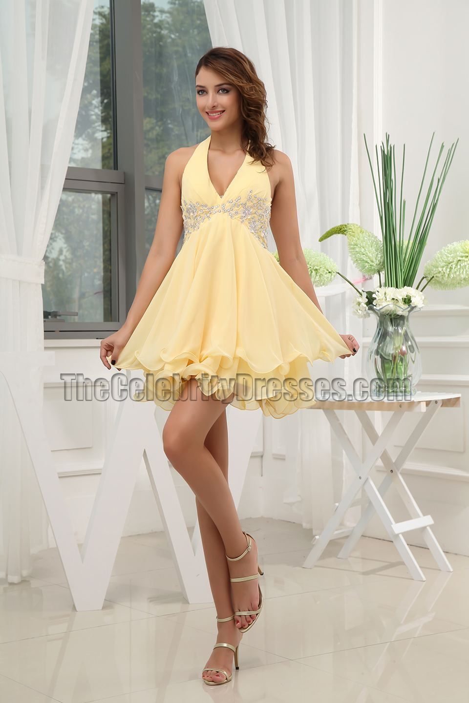 Gorgeous Yellow Short Halter Party Dress Cocktail Dresses ...