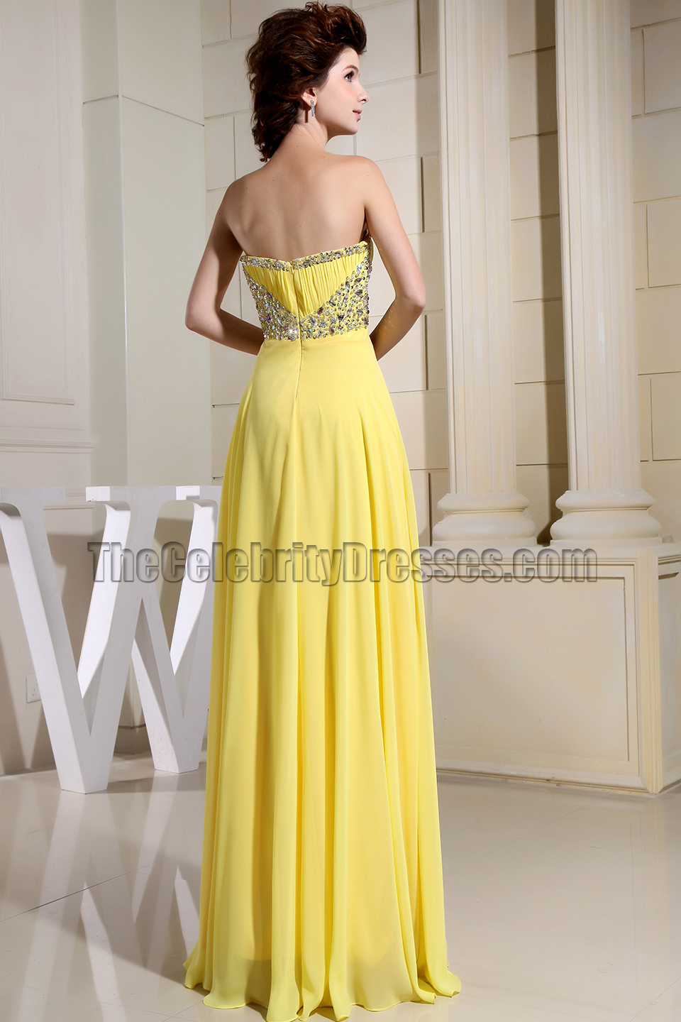 Gorgeous Yellow Strapless Beaded Prom Dress Evening Gown ...