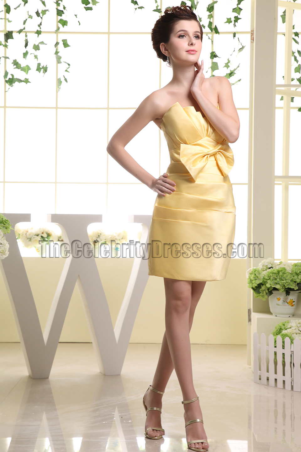 Strapless yellow short party dress homecoming bridesmaid dresses strapless yellow short party dress homecoming bridesmaid dresses thecelebritydresses ombrellifo Choice Image