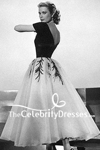 Grace Kelly Black And White Cap Sleeves Embroidery Dress In Movie Rear Window Thecelebritydresses