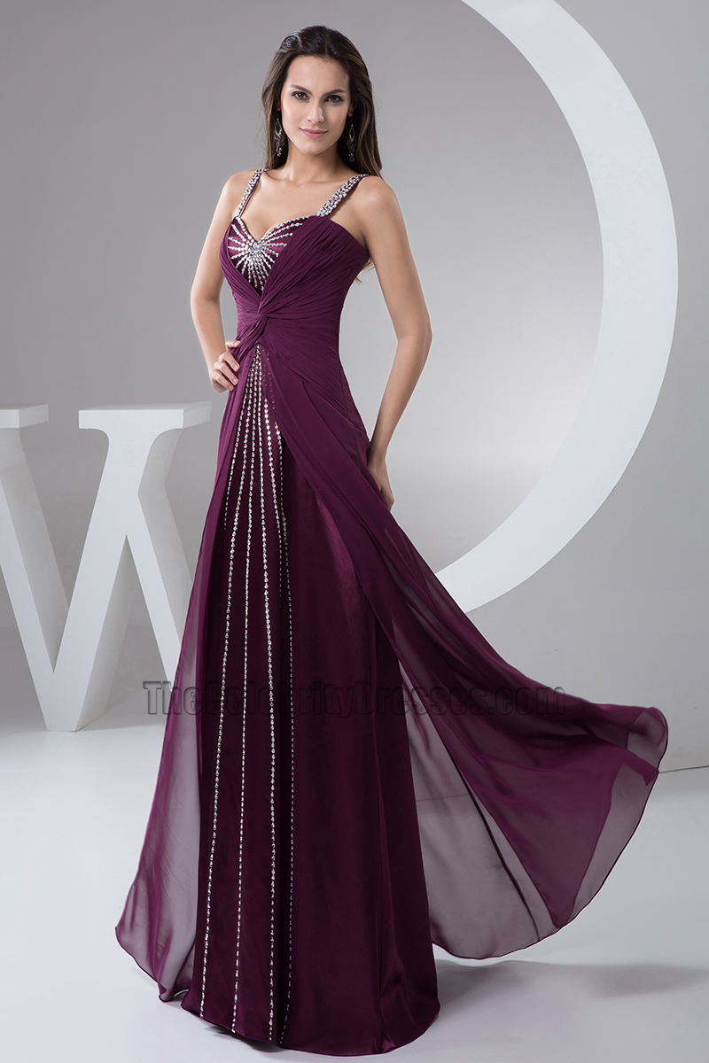 Grape Sequined Prom Gown Evening Dress - TheCelebrityDresses
