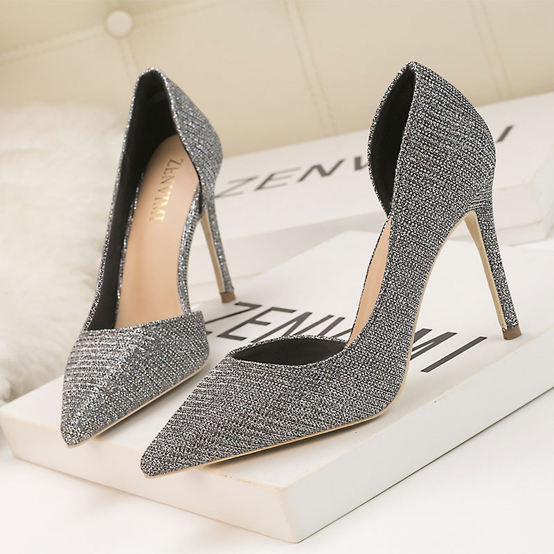 Silver Sparkly Pointed Toe Women's