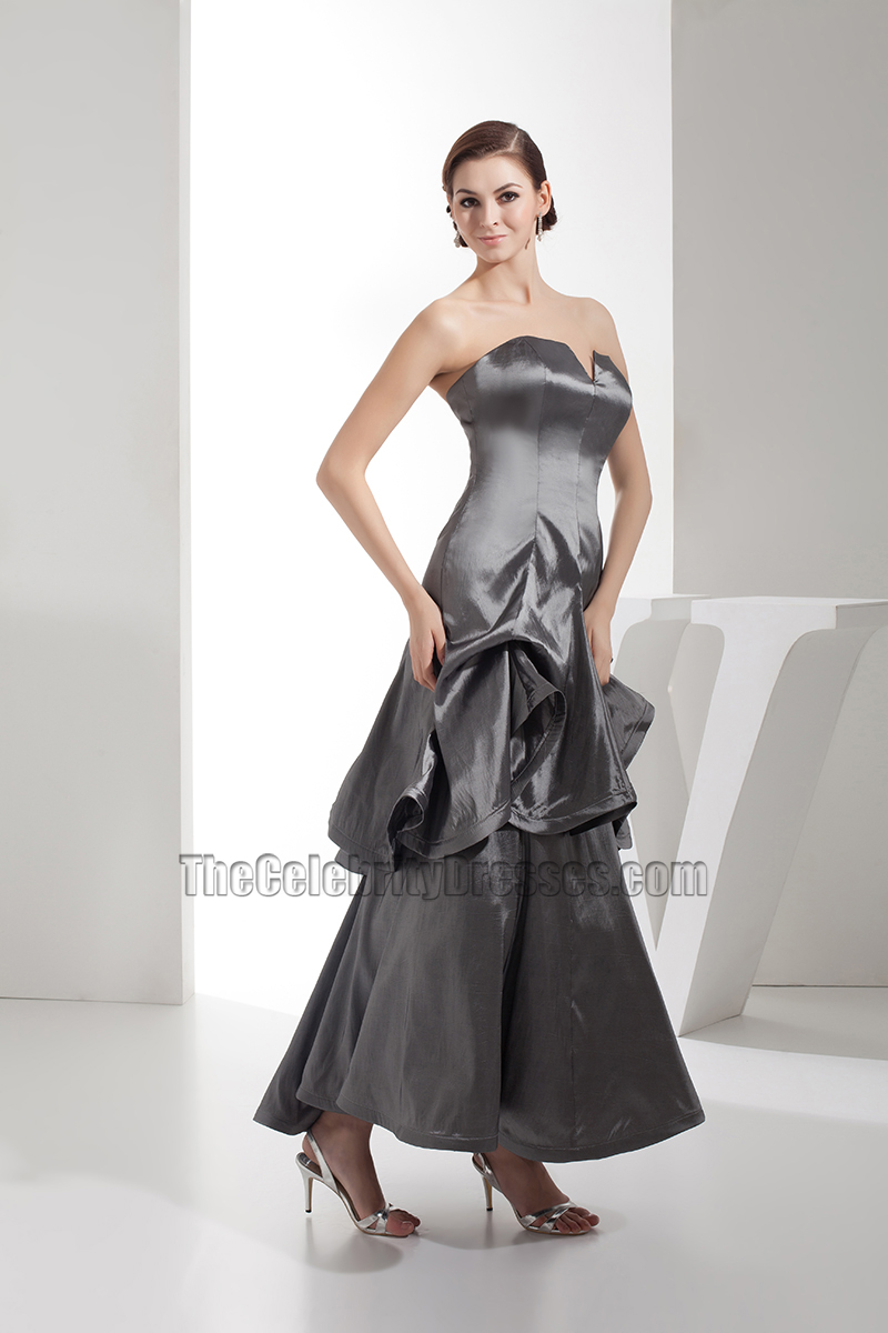Gray Strapless Satin Bridesmaid Prom Gown Evening Dresses - TheCelebrityDresses