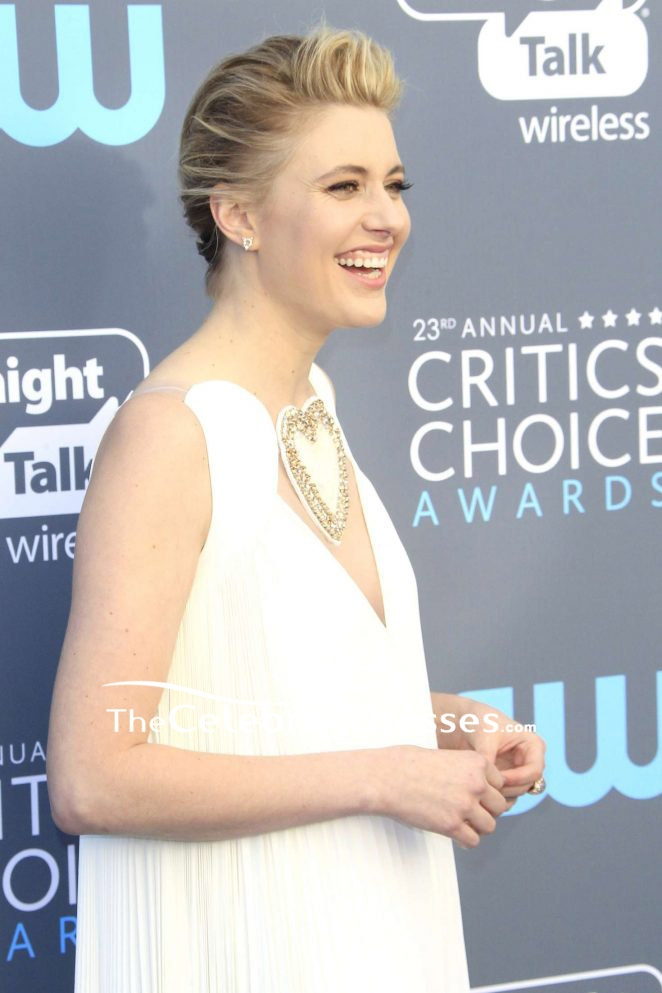 4145c8357 Greta Gerwig Ivory V-neck Ruffle Long Dress 2018 Critics  Choice Awards. Red  Carpet - TheCelebrityDresses