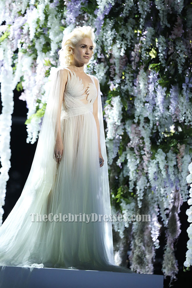 Gwen Stefani Ivory Tulle Evening Dress Bridal Gown The Voice ...